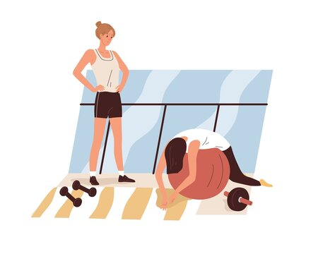Tired exhausted woman during workout in gym. Weak lazy apathetic person feeling sick and fatigue at training. Physical weakness concept. Flat vector illustration isolated on white background