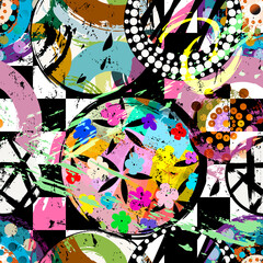 seamless geometric pattern background, retro, vintage style, with circles, stripes, flowers, paint strokes and splashes
