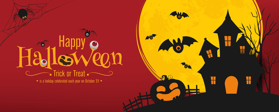 halloween banner vector design. halloween pumpkins and on dark background for greeting card, banner, poster,blog, article, social media, marketing