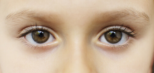 Obraz Closeup shot of a small girl's eyes - fototapety do salonu