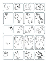 Cute Animals How to Draw Worksheet Page Vector Illustration Art
