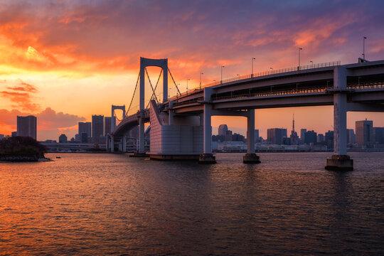 Tokyo city skyline with Rainbow Bridge and Tokyo Tower from Odaiba, Japan