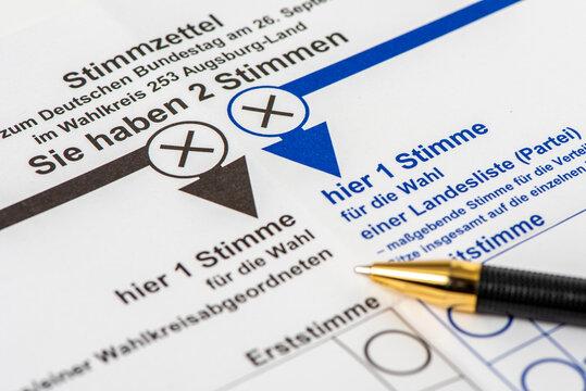 Wahlschein und Briefwahl zur Bundestagswahl 2021