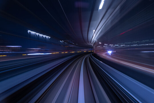 abstract motion-blurred long exposure light trail