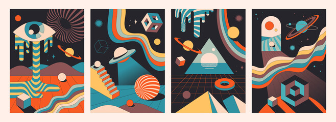 Set of colorful abstract psychedelic space compositions. Vintage colors of geometric shapes as a template banner for wall art or other creative use. Flat cartoon vector illustration