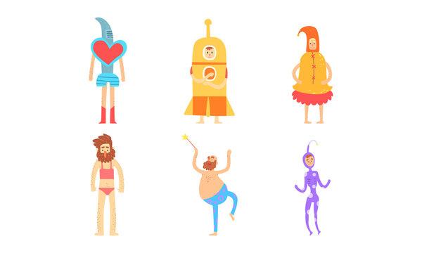 Strange People in Bizarre Costumes Set, Funny Men and Women Having Fun at Masquerade Party Cartoon Vector Illustration