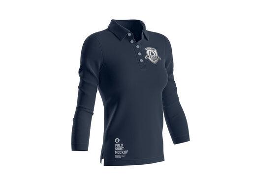 Women's Short Sleeve Polo Shirt Mockup. Front Side