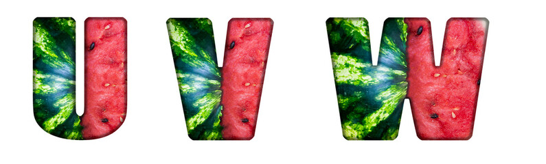 Letters U, V, W made from cut watermelon