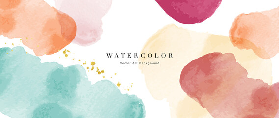 Obraz Watercolor abstract art background vector. Wallpaper design with paint brush beige watercolor. Illustration for prints, wall art, cover and invitation cards. - fototapety do salonu