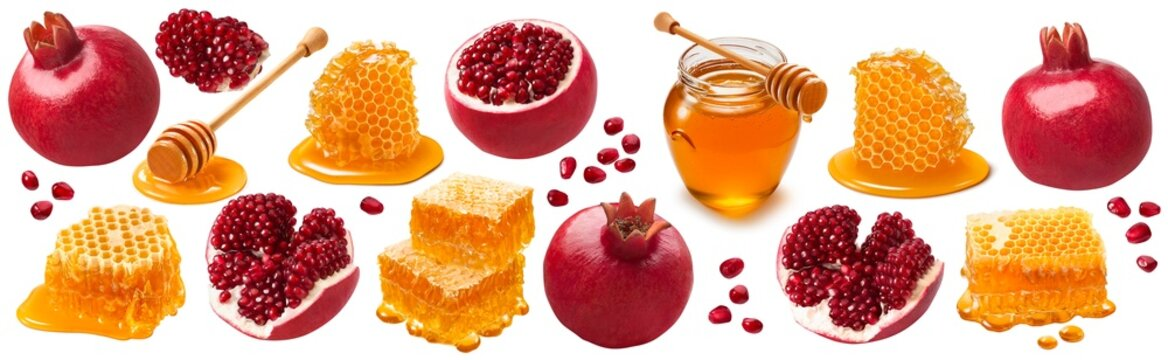 Pomegranates and honey isolated on white background. Jewish New Year set with clipping path