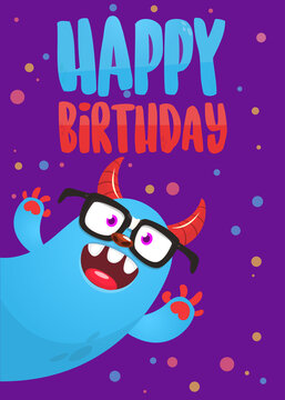 Funny cartoon monster characters set card for birthday party. Illustration of happy alien creatures. Package or invitation design