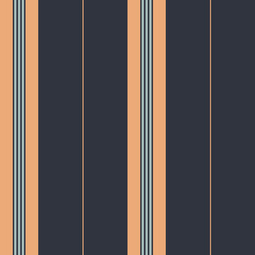 Seamless vector pattern with elegant classic stripe in apricot orange and dark blue. Includes swatches with named fashion industry colors.