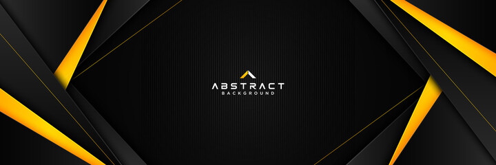 Abstract horizontal banner template with yellow and black geometric triangle shape on black background. Modern simple polygonal texture elements. Suit for brochure, presentation, business, cover
