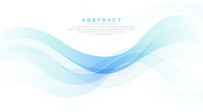 Green turquoise and bright blue gradient abstract wave lines banner on white background. Modern simple flowing wave creative design. Suit for cover, poster, website, brochure, banner, presentation