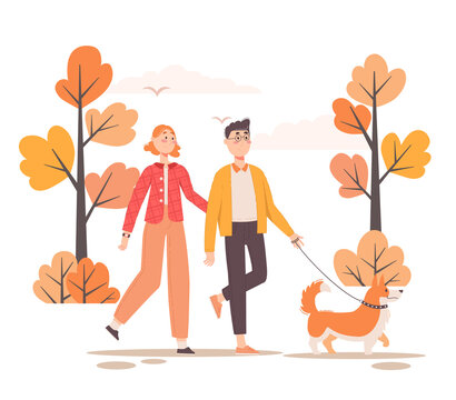 Vector illustration. Couple walking dog on leash in the park