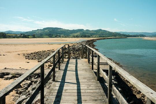 Landscape of the Villaviciosa estuary in Asturias, Spain