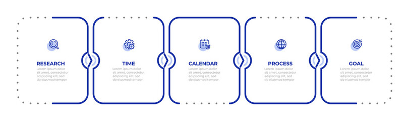 Fototapeta Vector thin line elements design for annual report, Timeline process with 5 options or steps. Can be used for workflow diagram, info chart, web design. obraz