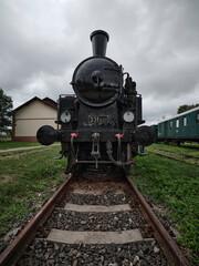 Old historic train depot black locomotive front view