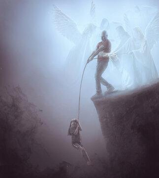 Man saving child while angels help