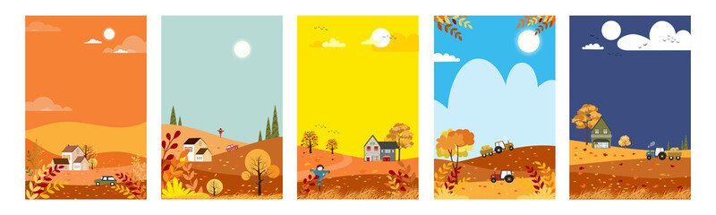 Autumn landscape set with copy space for text,Vector cute cartoon Fall season background.Autumnal lanscape forest and hills with leaves falling from tree, Collection for banner, poster,design template