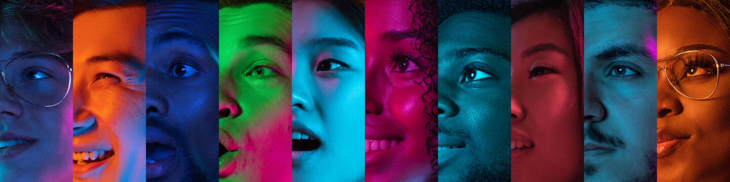 Cropped portraits of group of people on multicolored background in neon light. Collage made of 6 models
