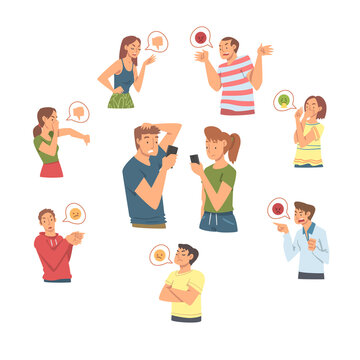 Angry People Characters Expressing Discontent and Disgust in Social Media Vector Set