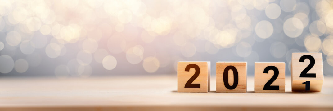Wooden Blocks With 2022 2021 Number On Table