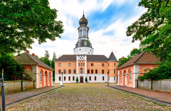 Entrance to the Schloss Jever in Jever, Lower Saxony, Germany