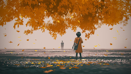 young woman standing under the autumn tree looked at the man in the distance, digital art style, illustration painting