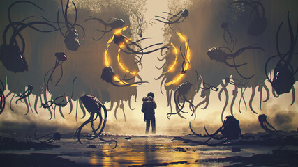 The man standing and looking at the split cliff amongst strange flying creatures, digital art style, illustration painting