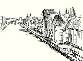 Panorama miasta Gdańsk w Polsce. Ręczny szkic wykonany piórkiem