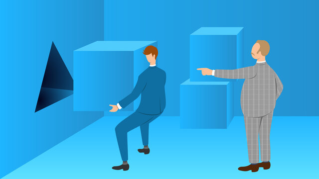 Boss gives subordinate an impossible task. Abuse of authority concept illustration.