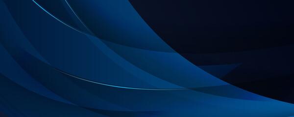 Dark navy and soft blue banner background