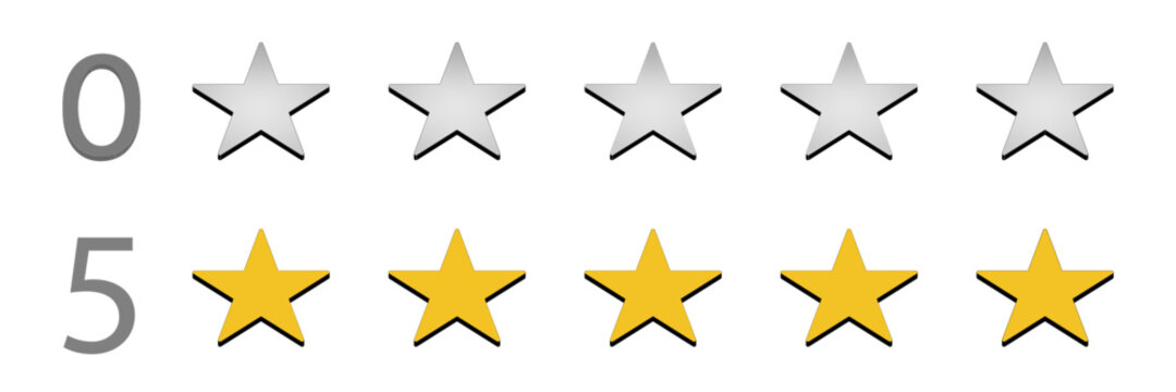0 stars and 5 stars rating 3D vector. Customer review star score