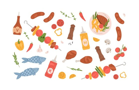 Set of grilled food for BBQ party or summer picnic. Collection of barbecue meat, chicken, sausages, vegetables, roasted steak, fish and kebab on skewer. Flat vector illustration isolated on white