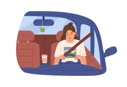 Sleepy tired woman driver in car. Drowsy asleep person driving auto. Female sleeping during ride early in morning. Flat vector illustration of drowsiness in automobile isolated on white background