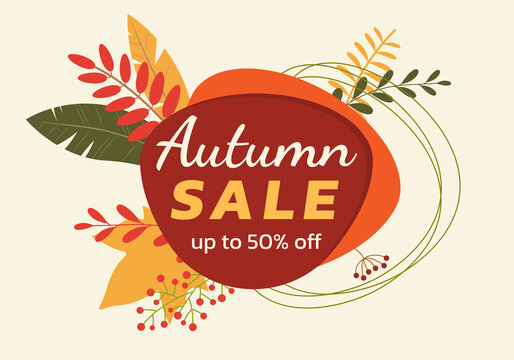 Autumn sale banner or bade design with fall leaves and abstract geometric shapes. Promotion or discount card template. Vector illustration.