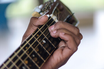 Left hand on the fretboard putting the chord to play.