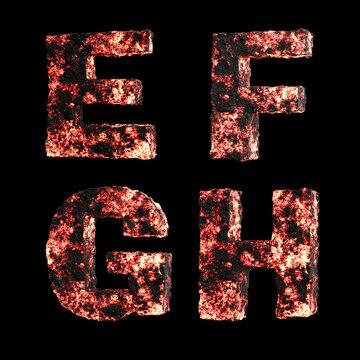Hot lava capital letter alphabet - letters E-H