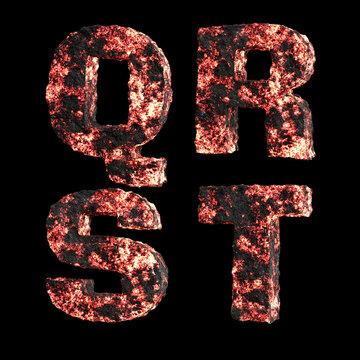 Hot lava capital letter alphabet - letters Q-T
