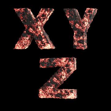 Hot lava capital letter alphabet - letters X-Z
