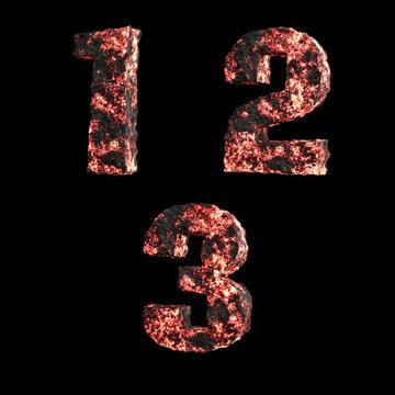 Hot lava capital letter alphabet - digits 1-3