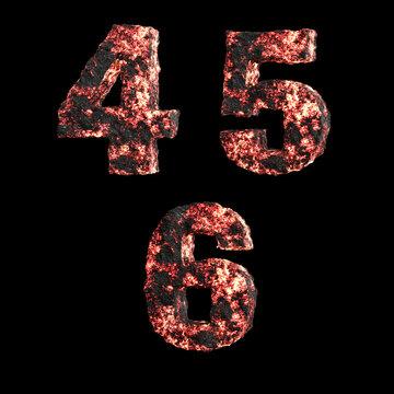 Hot lava capital letter alphabet - digits 4-6