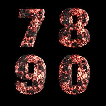 Hot lava capital letter alphabet - digits 7-0