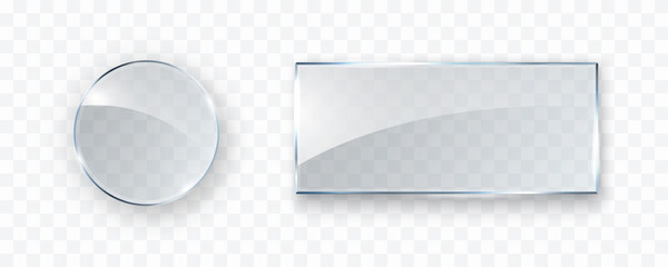 Glass, acrylic or plastic circle and rectangle badges isolated on transparent background. Reflection 3d round button, glare mirror. Vector glossy frame set