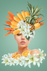 Abstract art collage of young woman with fruits and flowers