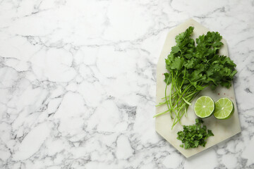 Fresh green cilantro and lime on white marble table, top view. Space for text