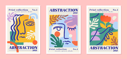 Abstract collection of postcards. Set of posters with geometric shapes, boho style girls faces, flowers. Design elements for site and wall decoration. Modern vector collage isolated on pink background