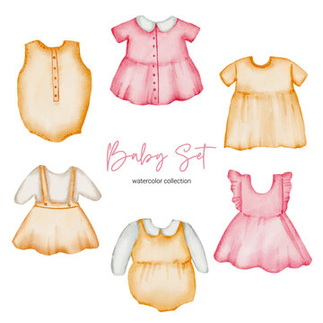 Watercolor vector illustration clothes object asset. Baby stuffs set of clothes boy and girl