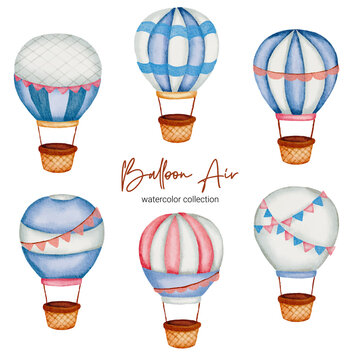 Watercolor Baby toy and accessories illustration. Baby stuffs set of Set of hot air balloons